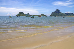 L sand beach and thai fishing Royalty Free Stock Images