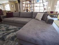 L-shaped corner sofa in show room Royalty Free Stock Photo