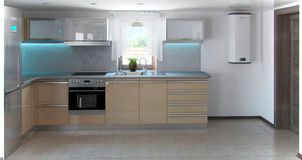 L-shaped minimalism kitchen interior, 3d render. Naturalness and aesthetic minimalism in elegance and conservative grey color Royalty Free Stock Photos