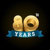 L'or shinny des nombres pour des anniversaires Image libre de droits