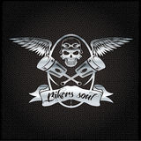 L silver crest with skull,wings and pistons. Bikers soul silver crest with skull,wings and pistons Royalty Free Stock Photos