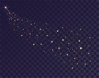 L'or tient le premier rôle la traînée éclatante du traîneau de Santa Queue de comète sur le fond transparent en ciel foncé Photo libre de droits