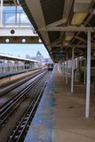 L-Train departs. L-Train at Ashland Station in Chicago Stock Images