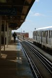 L-Train departs. L-Train at Ashland Station in Chicago Stock Photos