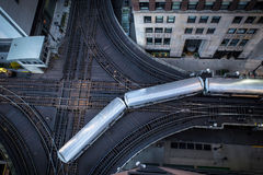 The L train loops around downtown Chicago. Royalty Free Stock Images
