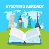 À l'étranger étude du concept de langues étrangères Illustration plate de style de vecteur coloré de voyage Photographie stock