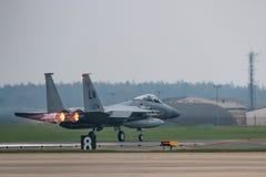 L'U.S. Air Force de RAF Lakenheath F-15 voyagent en jet image libre de droits
