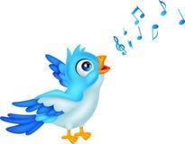L'uccello blu del fumetto canta Fotografia Stock