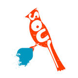 L'uccello con l'iscrizione, simbolizza la libertà di vita royalty illustrazione gratis