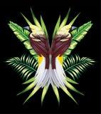 L'uccello con la banana tropicale lascia nello stile dello specchio Immagini Stock