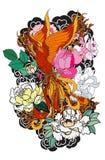 L'uccello del fuoco di Phoenix con il fiore della peonia ed è aumentato sul fondo dell'onda e della nuvola Stile giapponese diseg illustrazione vettoriale