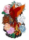L'uccello del fuoco di Phoenix con il fiore della peonia ed è aumentato sul fondo dell'onda e della nuvola Stile giapponese diseg Fotografie Stock