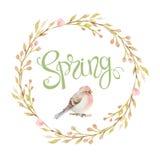 L'uccello nel telaio circolare dei rami, i fiori e le iscrizioni balzano illustrazione di stock
