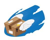 L'uccello traversa la consegna volando precisa del pacchetto Fotografie Stock Libere da Diritti