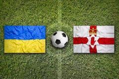 L'Ucraina contro il Montenegro L'Irlanda del Nord sul campo di calcio Immagine Stock Libera da Diritti