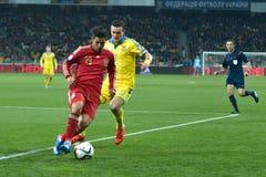 L'Ucraina contro la Spagna Partita di spareggio 2016 dell'EURO dell'UEFA Immagine Stock