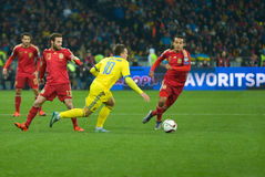 L'Ucraina contro la Spagna Partita di spareggio 2016 dell'EURO dell'UEFA Fotografia Stock Libera da Diritti