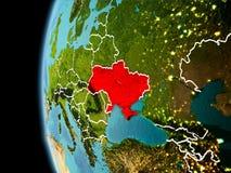 L'Ucraina da spazio nella sera Fotografie Stock
