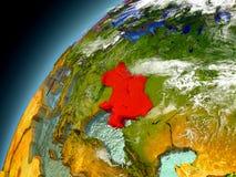 L'Ucraina dall'orbita di Earth di modello Immagine Stock