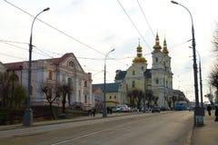 L'Ucraina, la città di Vinnitsa, via della cattedrale Fotografie Stock Libere da Diritti