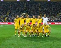 L'Ucraina - la Svezia teams la corrispondenza di gioco del calcio Fotografia Stock
