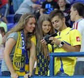 L'Ucraina - la Svezia teams la corrispondenza di gioco del calcio Fotografia Stock Libera da Diritti