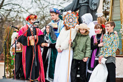 l'ucraina LEOPOLI - 14 GENNAIO 2016: Scena di natività di Natale Fotografie Stock Libere da Diritti