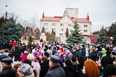 l'ucraina LEOPOLI - 14 GENNAIO 2016: Scena di natività di Natale Immagini Stock