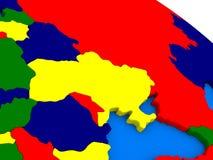 L'Ucraina sul globo variopinto 3D Fotografia Stock Libera da Diritti