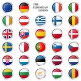 L'UE boutonnent la collection avec des drapeaux de pays Photo libre de droits