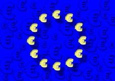 L'UE diminuent et euro Images libres de droits