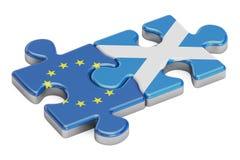 L'UE et l'Ecosse déconcerte des drapeaux, le rendu 3D Photos libres de droits