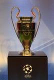 L'UEFA mettent en forme de tasse le trophée Image libre de droits