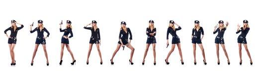 L'ufficiale di polizia della donna isolato su bianco Immagini Stock