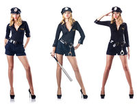 L'ufficiale di polizia della donna isolato su bianco Immagine Stock