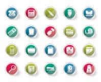 L'ufficio semplice foggia le icone sopra fondo colorato Immagine Stock Libera da Diritti