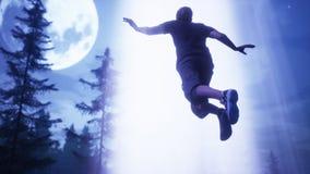 L'UFO vole au-dessus de la forêt et de l'homme capturé dans le faisceau lumineux rendu 3d illustration libre de droits