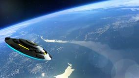 L'UFO vole au-dessus de la terre, rendu abstrait du fond 3D Images libres de droits