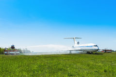 L'Ukraine, Borispol - 22 mai : L'aéroport international Boryspil de pompiers dépense des doctrines sur des avions de suppression  Image stock