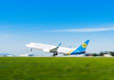 L'Ukraine, Borispol - 22 mai : L'avion décolle à l'aéroport international Borispol le 22 mai 2015 dans Borispol, Ukraine Images libres de droits