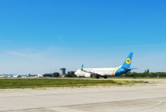 L'Ukraine, Borispol - 22 mai : L'avion décolle à l'aéroport international Borispol le 22 mai 2015 dans Borispol, Ukraine Images stock