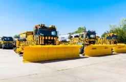 L'Ukraine, Borispol - 22 mai : Souffleuse de neige Équipement pour l'entretien de la piste à l'aéroport international Boryspil Photographie stock libre de droits