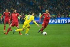 L'Ukraine contre l'Espagne Barrage 2016 d'EURO de l'UEFA Photo libre de droits