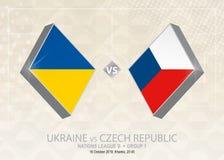 L'Ukraine contre la République Tchèque, ligue B, groupe 1 Le football Co de l'Europe illustration libre de droits