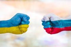 L'Ukraine contre la Russie images libres de droits