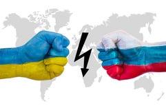 L'Ukraine contre la Russie photographie stock libre de droits