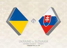 L'Ukraine contre la Slovaquie, ligue B, groupe 1 Competit du football de l'Europe illustration stock