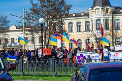 L'Ukraine, Dniepropetovsk, le 24 avril 2015, protestataires arméniens mars Image stock