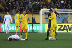 L'Ukraine et la Slovénie Barrage 2016 d'EURO de l'UEFA Image libre de droits