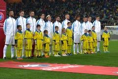 L'Ukraine et la Slovénie Barrage 2016 d'EURO de l'UEFA Images libres de droits